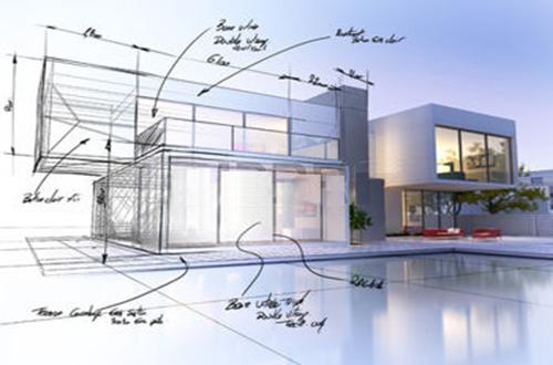 Progetto di una villa domotica con schizzo